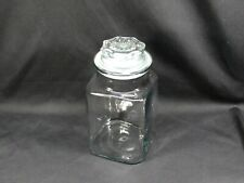Vintage Clear Glass Anchor Hocking Square Candy Jar Apothecary Storage Jar Lid
