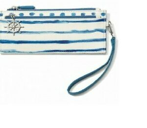 NWT Brighton BLUE WATER Nautical Anchor Triple Zip Wallet Pouch Wristlet MSRP$95