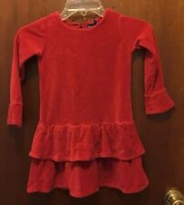Girl RALPH LAUREN red Velvet Long Sleeve Ruffle Dress Sz 4/4T EUC Holiday