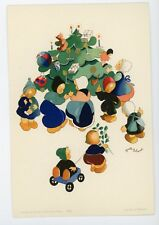 Signed Josette Boland vintage postcard Children by Christmas tree  toys gifts