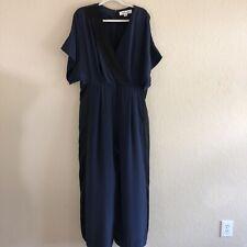 Diane Von Furstenberg Blue Black Side Stripe Silk Pants Jumpsuit Short Sleeve 12