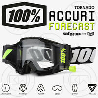 MASCHERA 100% ACCURI FORECAST ROLL-OFF OCCHIALI MOTOCROSS MX TORNADO BLACK