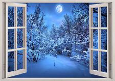 WINTER SNOW MOON NIGHT  WINDOW WALL STICKER LOUNGE BEDROOM GIRLS BOYS