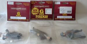 3 ~ BACHMANN FIGURES ~ STATION AGENT ~ FOREMAN ~FIREMAN With SHOVEL ~ G SCALE