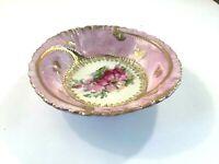 Vintage Small Bowl Pink Floral Gold Trim Trinkets Soaps Decorative Home Decor