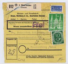 Bizone/Bauten, 97IIeg MiF 128,  Paketkarte Beerfelden/Odenw., - Frankenberg,