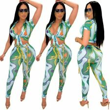 NEW Stylish Women's Short Sleeves V Neck Colorful Print Bodycon Jumpsuit 2pcs