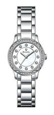 BULOVA WOMEN'S $250 SILVER-TONE SS DRESS WATCH, WHITE DIAL, CRYSTALS    96L181