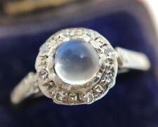 Victorian Sugarloaf Moonstone & Diamond Ring Band Set In 18ct Gold & Platinum