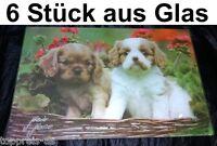 DESIGNER MORENO Schneidebrett Glas King Charles Servierplatte Hund Vesperbrett