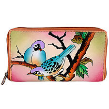 Genuine Leather Women's Wallet Hand Painted  Birds Unique Coin Purse Clutch