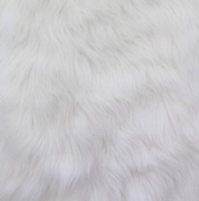 "Faux Fur fake white shaggy fabric 60"" Wide sold by the yard upholstery"