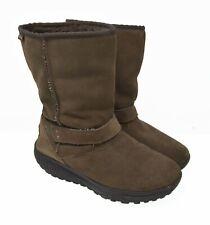 SKECHERS Shape Ups Women's Sz 10 EU 40 Brown Leather & Shearling Boots 24860
