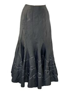 PER UNA M&S Embroidered Taffeta Full Flippy Skirt 14L Steampunk Gothic BNWT