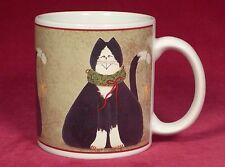 Sakura Christmas Cats Fiddlestix Black Cat Mug Cup Holiday Green Wreath and Star