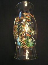 HURRICANE BLOWN GLASS SHADE CANDLE HOLDER FLORAL ARANGEMENT PAINTED TREE FLOWERS