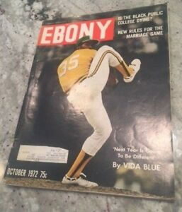 1972 October Ebony Magazine baseball, Vida Blue, Oakland Athletics ~ Fair