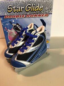 Lake Placid Star Glide Double Runner Beginners Ice Skates Size 10J Blue Boys