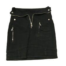 RtA Gisele Cotton Stretch Black Denim Jean Fold over Straight Mini Skirt 2