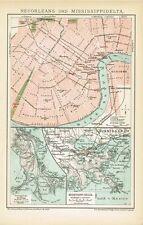 Stadtplan von NEW ORLEANS / Karte MISSISSIPPI-DELTA 1894 Original-Graphik