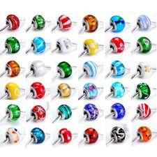 50pcs Silver GLASS BEAD LAMPWORK fit European Charm Bracelet Women Ramdon Styles