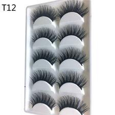Eye Beauty 100% Luxury 3D Mink False Lashes Wispy Fluffy Strip Eyelashes Black