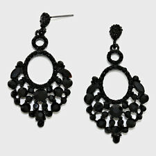 Black dangly earrings chandelier evening sparkly bridal prom party glitzy 369