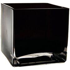 "4"" Black Glass Heavy Cube Vase Candle Holder #GCB125BK"