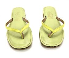 Kino Women's Size 9 Flip Flops Yellow Leather Thong Sandals Made In Florida USA