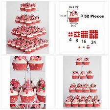 "4 Tier Maypole Square  Wedding Party Acrylic Cupcake Display Stand (12.6"")"