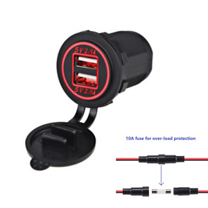 Motorcycle Dual USB Charger Socket Power Outlet 4.8A with Wire In-line 10A Fuse