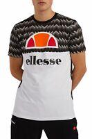 ellesse Arbatax Retro Football Print Logo T-Shirt Sports Top Casual Tee Black