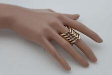 Sexy Women Gold Metal Ring Fashion Jewelry Stripes Chevron Stylish Elastic Band