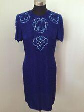 Scala Dress Sheath Evening Blue Beaded Sequins Open Back Silk Knee Length XL