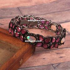 Ruby Opal Tanzanite Diamond 925 Sterling Silver Handmade Statement Bracelet 13