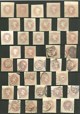 SELECTION/LOT OF 36 QUEEN VICTORIA 1/2D PINK CUT OUTS 16 UNUSED 20 POSTMARKS