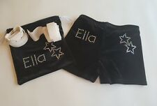Girls Gymnastics shorts and Hand Guard Bag with Name & Stars all Sizes by Selani