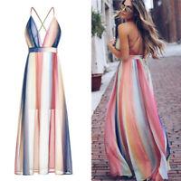 Sexy Women's V-Neck Dress Boho Casual Summer Maxi Long Evening Beach Sundress