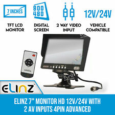 "7"" LCD Monitor Only HD 12V 24V 2AV inputs for 4PIN Reversing Camera Rearview"