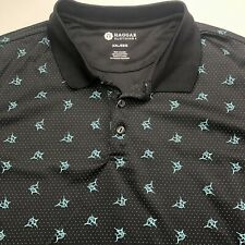 Haggar Clothing Polo Mens Size XXL Black With Fish And Polka Dots Short Sleeve