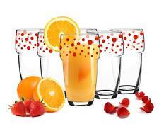 6 Stapelbare Trinkgläser 300ml Kaffeegläser Saftgläser Wasserglas Rot gepunktet