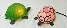 2 Tiffany Style Glass and Bronze Turtle Lamps