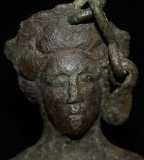 Beautiful Ancient Roman Bronze Steelyard Weight Complete With Chain.
