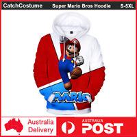 Super Mario Bros Hoodie Sweatshirt 3D Print Hip Hop Sweater Pullover Jacket Coat