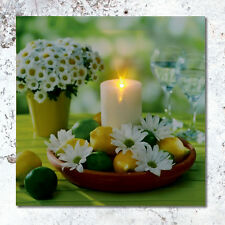 30 x 30CM INDOOR BATTERY OPERATED DAISY FLOWER CANDLE CANVAS LIGHT UP LED PRINT