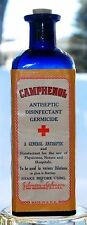 CA 1900 CAMPHENOL JOHNSON & JOHNSON COBALT BLUE ANTISEPTIC BOTTLE W/  FULL LABEL