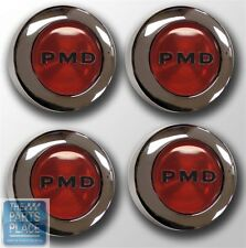 1967-79 Pontiac PMD Rally II Center Caps - Red Bolt On - Set Of 4 #