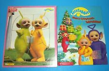 Teletubbies Playskool 1998 Wood Puzzle & Scholastic 1999 Merry Christmas Book