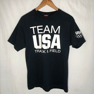 USA Olympics Team USA Track & Field - Navy Blue Cotton Short Sleeve Shirt Size M