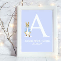 Personalised A4 Print,Peter Rabbit, Name,Baby,Initial,Gift, Wall Art-NO FRAME